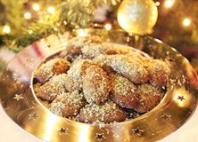 Greek melomakarona traditional Christmas cookies Royalty Free Stock Photo
