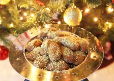 Greek melomakarona traditional Christmas cookies with honey and nuts Royalty Free Stock Photography