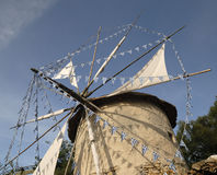 Greek Mill. In Greece, Europe. Decorated with greek flags royalty free stock photo