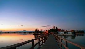 Greek monastery at dusk Royalty Free Stock Image