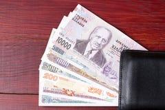 Greek money in the black wallet Stock Photo