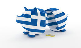 Greek money box break Stock Photos