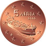 Vector Greek money bronze coin five euro cent. Greek money bronze coin five euro cent with the image of A modern tanker, symbol of Greek enterprise Stock Images
