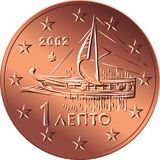 Vector Greek money bronze coin one euro cent. Greek money bronze coin one euro cent with the image of An Athenian trireme of the 5th century Stock Images