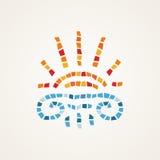 Greek mosaic. Sun with column Stock Photos