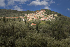 Greek mountain village on Corfu island Royalty Free Stock Images