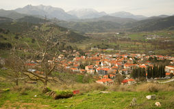 Greek mountain village of Kalavryta. At Peloponnese, Greece Stock Image