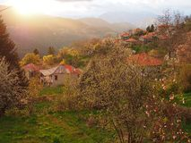 Greek Mountain Village, Storm Light Stock Photos