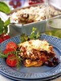 Greek moussaka. A plate with Greek moussaka eggplant dish royalty free stock image