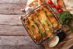 Greek moussaka in baking dish with the ingredients. horizontal t Stock Photography