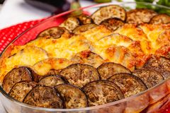 Greek Moussaka dish with minced meat, aubergine and sauce bechamel. Close up stock images