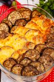 Greek Moussaka dish with minced meat, aubergine and sauce bechamel. Top view. Close up stock images