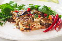 Greek moussaka with eggplant and minced meat Royalty Free Stock Image