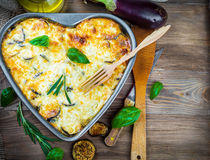 Greek Moussaka of eggplant stock images