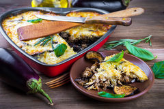 Greek Moussaka of eggplant royalty free stock photography