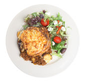 Greek Moussaka with Salad Stock Photos