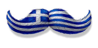 Greek mustache symbol. With the flag of Greece as an icon of a European macho male culture or concept for a mediterranean restaurant and Hellenic tradition or Royalty Free Stock Photography