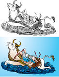 Greek myth: The Abduction of Europa by Zeus. (black and white and color pictures Stock Illustration