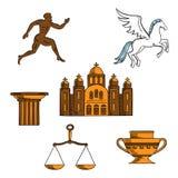 Greek mythology, art and religion icons Stock Photo