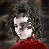 Greek mythology Medusa. Greek mythology, Medusa, woman with venomous snakes as hair Royalty Free Stock Image