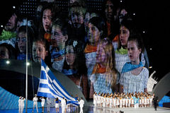 Greek National Anthem by children choir Royalty Free Stock Images