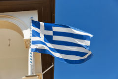 Greek national flag closeup on church Royalty Free Stock Photography