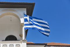 Greek national flag closeup on church Stock Photography