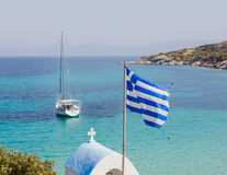 Greek National Flag Seascape Royalty Free Stock Photography