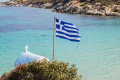 Greek National Flag Seascape Royalty Free Stock Image