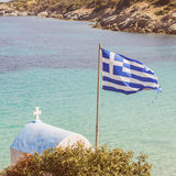 Greek National Flag Seascape Royalty Free Stock Images