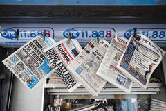 Greek newspapers with the latest (finance) news in a kiosk Athens, the capital of Greece. Europe Royalty Free Stock Photo