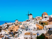 Greek Oia village in Santorini island. View of the old mill in the Greek Oia village in Santorini island Royalty Free Stock Image