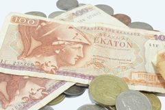 Greek old currency drachma banknotes on white Royalty Free Stock Images