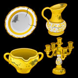 Greek old dishes and candlesticks, four items Stock Photo