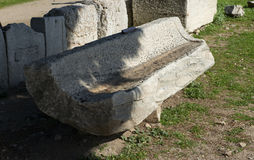 Greek old roman bench Stock Photos