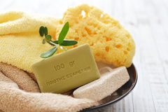 Greek olive soap Stock Photos