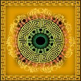 Greek ornamental 3d vector mandala pattern. Bright yellow floral. Background. Geometric ornate greek key meander ornaments with vintage flowers, leaves, swirls stock illustration