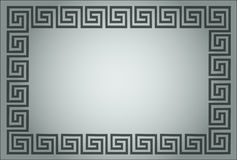 Greek ornamental frame in grey Stock Photos