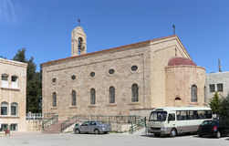 Greek Orthodox Basilica in town Madaba, Jordan,. Greek Orthodox Basilica of Saint George in town Madaba, Jordan,  Middle East Royalty Free Stock Image