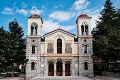 Orthodox Cathedral Church of Dormition of the Virgin Mary at Kalavryta, Peloponnese, Greece. The Greek Orthodox Cathedral Church of Dormition of the Virgin Mary royalty free stock images