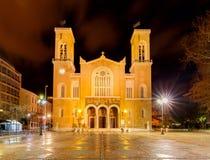Athens. Metropolis Cathedral. Greek Orthodox cathedral Metropolis at night. Athens. Greece Royalty Free Stock Photos