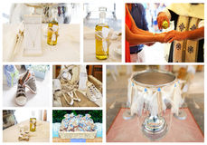 Greek Orthodox christening collage royalty free stock image