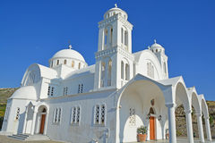 Greek Orthodox Church. The glistening white monastery greek orthodox church of Agiou Arseniou Saint Arsenius the Great on Paros Stock Photography