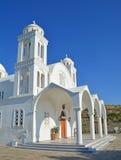Greek Orthodox Church. The glistening white monastery greek orthodox church of Agiou Arseniou Saint Arsenius the Great on Paros Stock Images