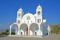 Greek Orthodox Church. The glistening white monastery greek orthodox church of Agiou Arseniou Saint Arsenius on Paros Stock Images