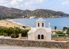 Greek Orthodox Church. On a high hill, Mylopotas beach, IOS island, Cyclades, Greece Royalty Free Stock Images