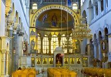 Greek orthodox church interior. Saint Dimitrios of Thessaloniki Stock Photos