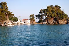 Greek orthodox church on island Panagias landmark Parga. Greece Royalty Free Stock Photo