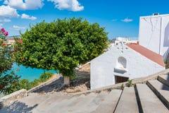 Greek orthodox church in Lindos Rhodes, Greece. Greek orthodox church in Lindos  Rhodes, Greece Royalty Free Stock Photography