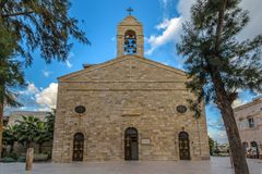 The Greek Orthodox Church in Madaba Jordan. The Greek Orthodox Church under blue skies in Madaba Jordan Stock Photos